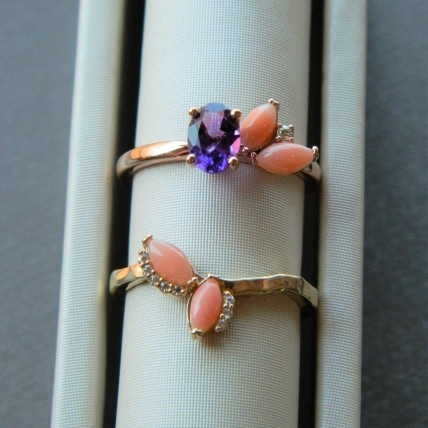 Custom Pink Coral and Amethyst Ring