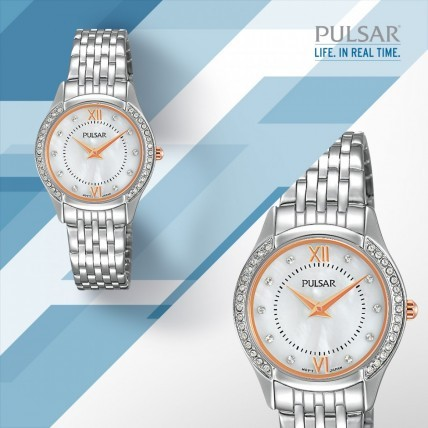 Silver, Rose Gold and Swarovski Crystal Ladies' Watch