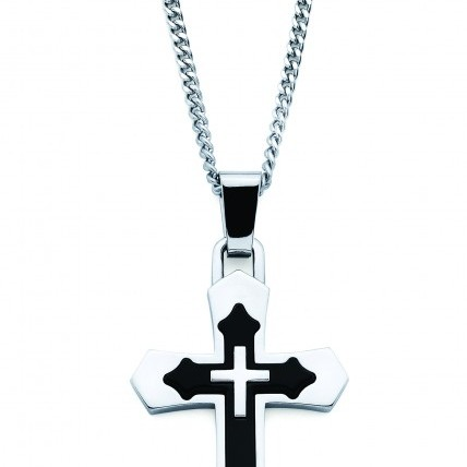 Stainless Steel and Enamel Cross