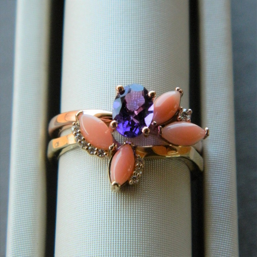 Custom Pink Coral and Amethyst Ring Set
